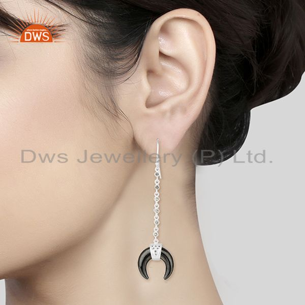 Wholesalers White Topaz With Hematite Crescent Moon 925 Sterling Silver Dangle Earring