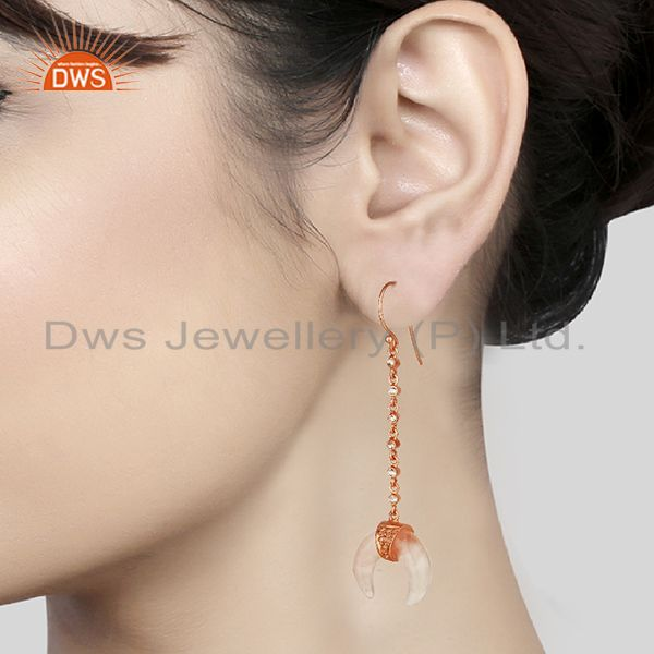 Wholesalers Rose Quartz Crescent Moon 925 Sterling Silver Rose Gold Plated Dangle Earring
