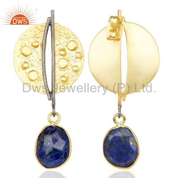 Wholesalers Lapis Lazul Dangle 14K Yellow Gold Plated Textured Design Brass Earrings Jewelry