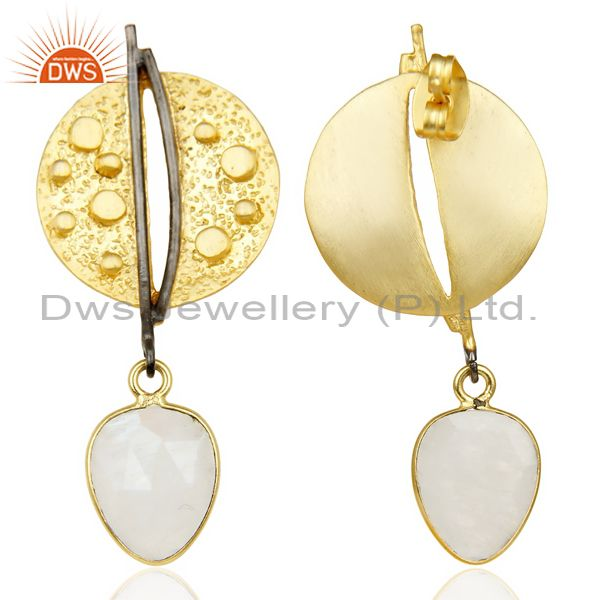Wholesalers Gold Plated Texture Designer Boutique Earring Rainbow Moonstone Fashion Jewelry