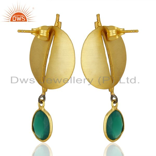 Wholesalers Gold Plated Texture Designer Boutique Earring Green Onyx Fashion Jewelry