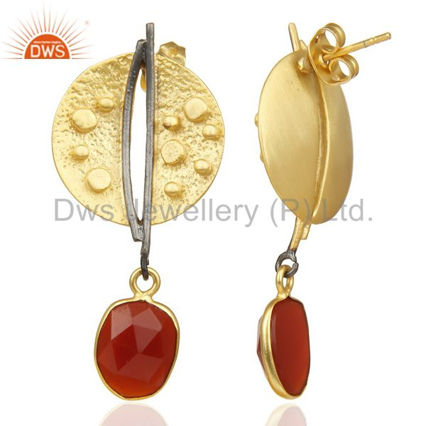 Wholesalers Red Onyx Dangle 14K Yellow Gold Plated Textured Design Brass Earrings Jewelry