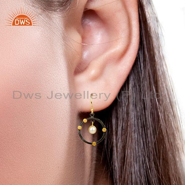 Wholesalers 14K Gold Plated Traditional Handmade Round Fashion Pearl Drops Brass Earrings