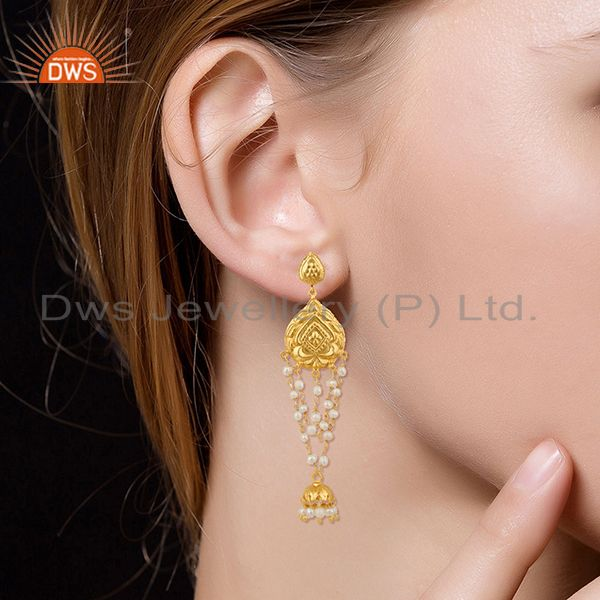 Wholesalers Pearl Jhumka 18K Yellow Gold Plated Fashion Earrings Traditional Jewelry