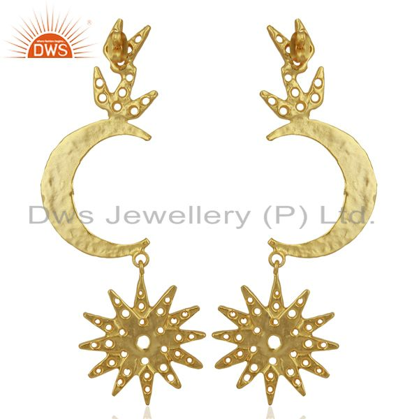Wholesalers Indian Traditional Moon Design Gold Plated Brass Fashion Earrings