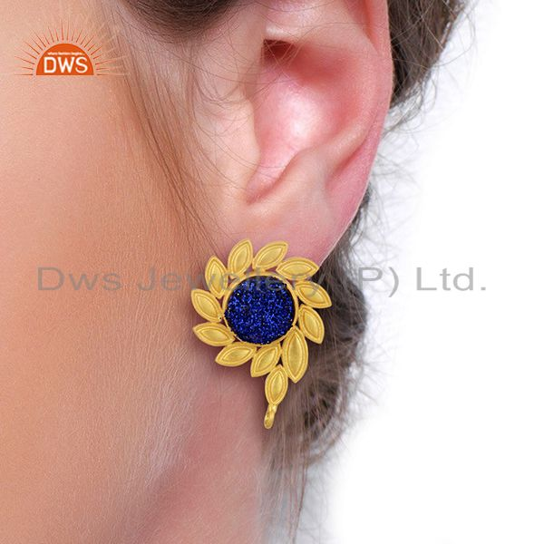 Wholesalers Blue Druzy Stud 18K Yellow Gold Plated Brass Earrings Fashion Jewelry