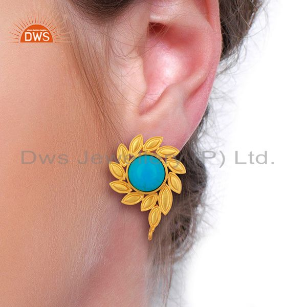 Wholesalers Turquoise Stud 18K Yellow Gold Plated Brass Earrings Fashion Jewelry