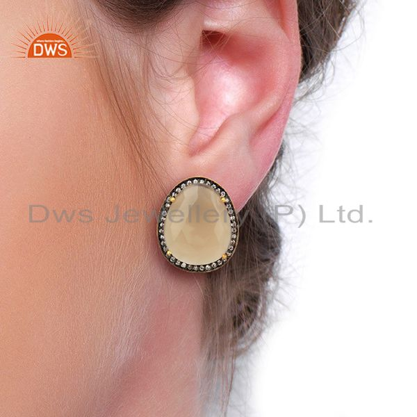 Wholesalers Grey Chalcedony CZ Stud 18K Yellow Gold Plated Brass Earrings Gemstone Jewelry