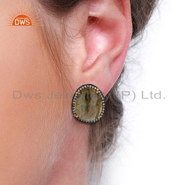 Wholesalers Labradorite CZ Studs 18K Yellow Gold Plated Brass Earrings Gemstone Jewelry