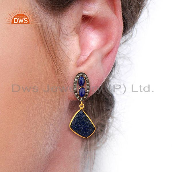 Wholesalers Lapis Lazuli CZ Dangle 18K Gold Plated Brass Designer Earrings Jewelry