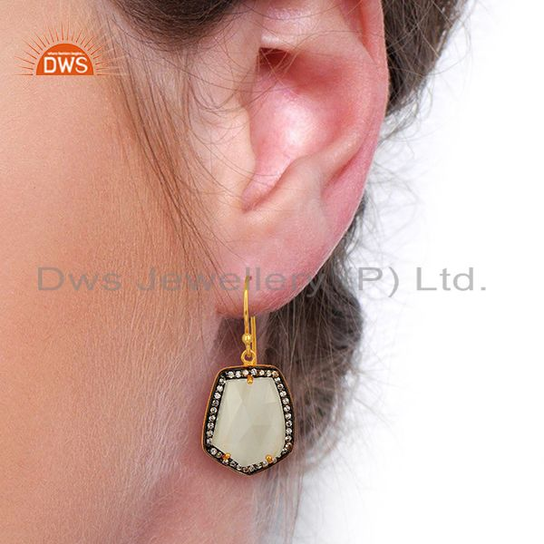 Wholesalers Handmade Gold Plated white Moonstone Cz Gemstone Earrings Jewelry