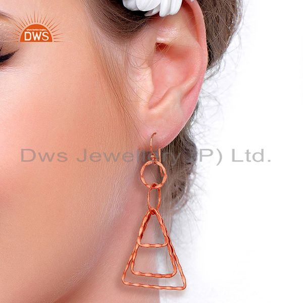 Wholesalers Designer Rose Gold Plated Brass Fashion Earrings Jewelry Supplier