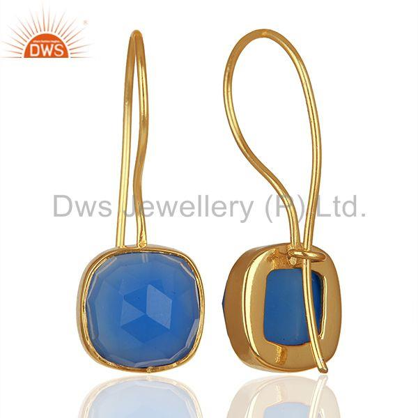 Wholesalers Blue Gemstone Gold Plated Brass Fashion Earrings Manufacturer India