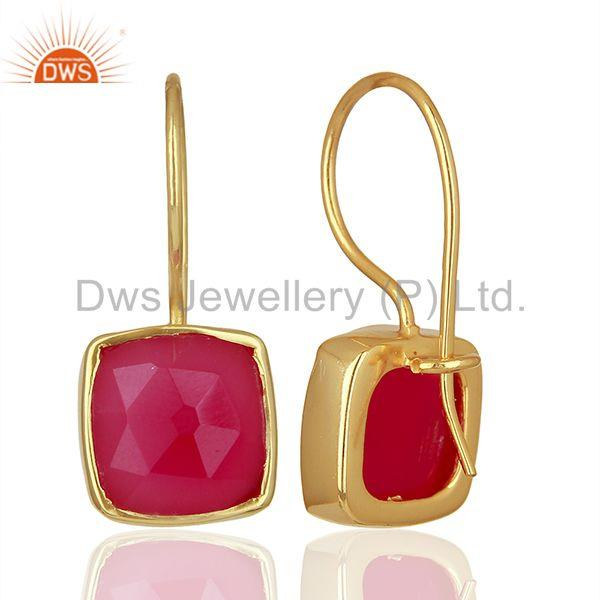 Wholesalers Pink Chalcedony Gemstone Girls Gold Plated Silver Earrings Supplier