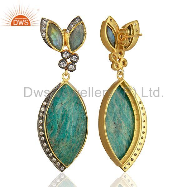 Wholesalers Multi Gemstone Sterling Silver Gold Plated Fashion Earrings Supplier