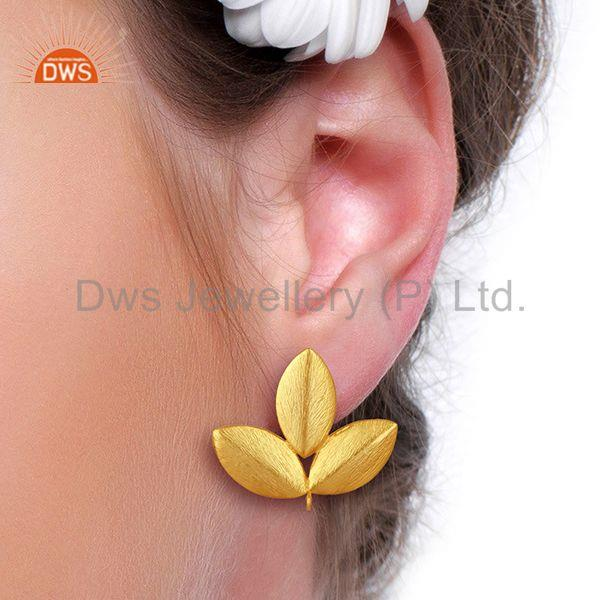Wholesalers Handmade Leaf Design Gold Plated Stud Earrings connectors Manufacturer