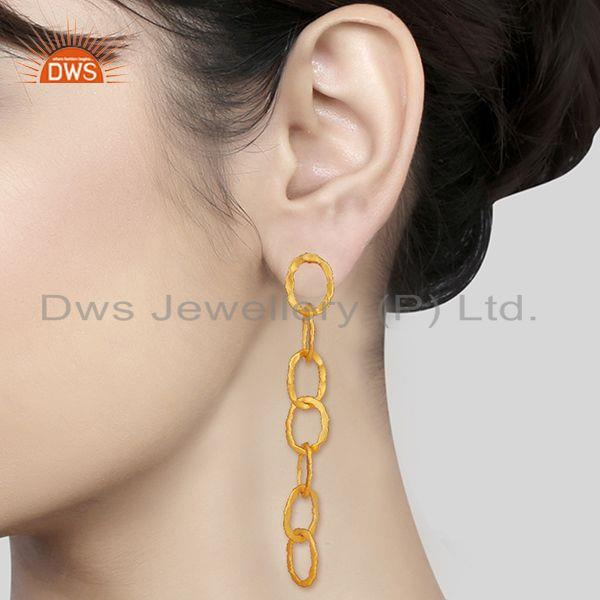 Wholesalers Chain and Link Design Gold Plated Fashion Earrings Manufacturer