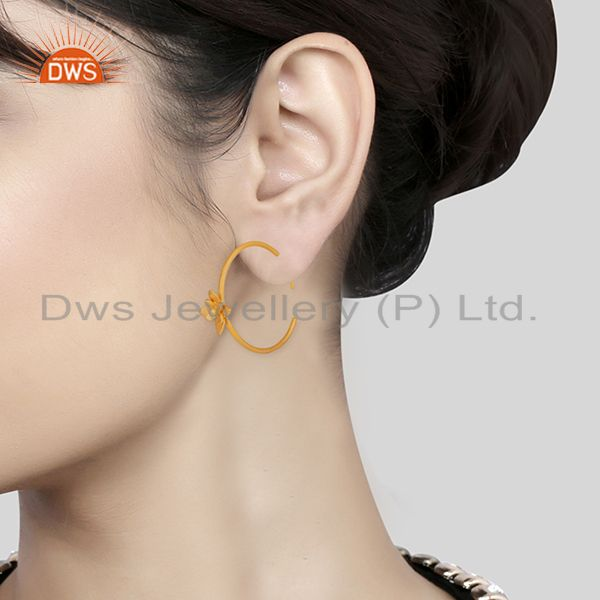 Wholesalers Floral Design Gold Plated Handmade Brass Fashion Hoop Earrings Jewelry