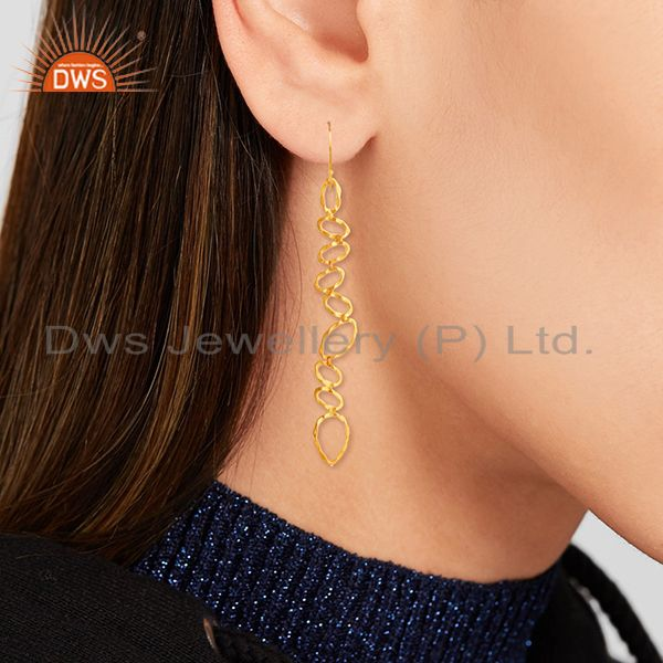 Wholesalers Handmade Brass Gold Plated Fashion Dangle Earrings Manufacturer
