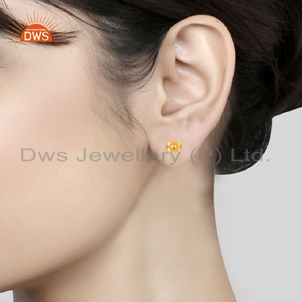 Wholesalers Round Ball Design Gold Plated Brass Fashion Girls Stud Earring