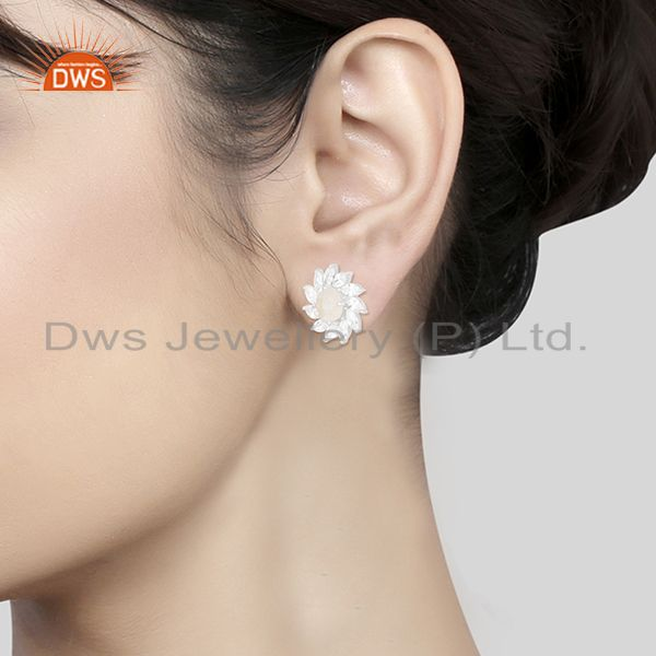Wholesalers Rainbow Moonstone and White Zircon Silver Plated Brass Stud Earring Manufacturer