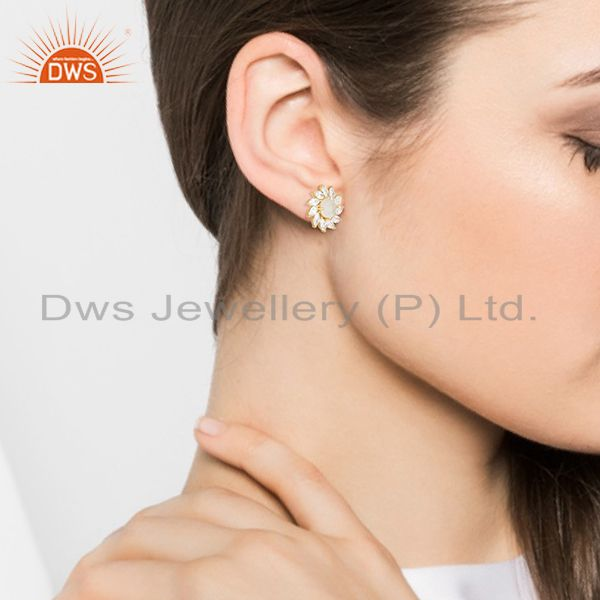 Wholesalers Floral Design Gold Plated Brass Fashion Gemstone Wedding Stud Earrings Wholesale