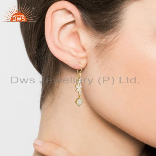 Wholesalers Rainbow Moonstone and Cz Gold Plated Brass Fashion Earring for Girls Jewelry