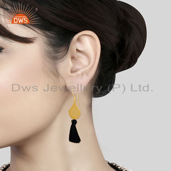 Wholesalers Black Thread Gold Plated Brass Fashion Tassel Earrings Manufacturer India