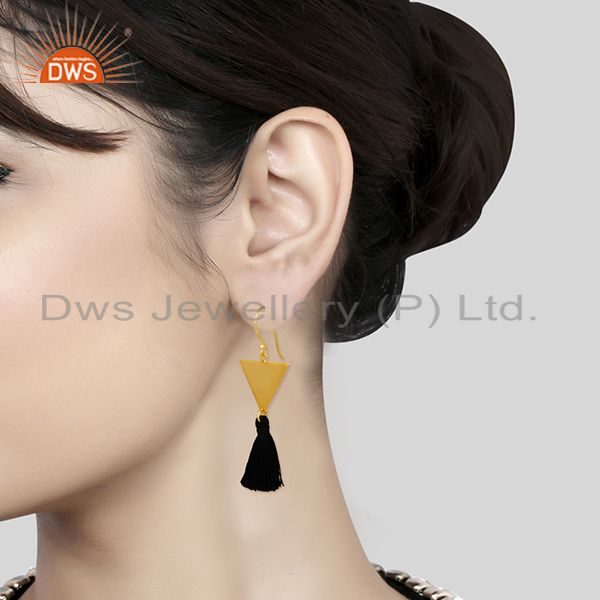 Wholesalers 14k Gold Plated Brass Fashion Handmade Black Thread Tassel Earrings Wholesale