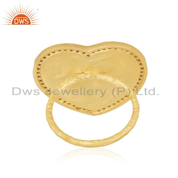 Wholesalers 22K Yellow Gold Plated White Cubic Zirconia Heart Cocktail Stackable Ring