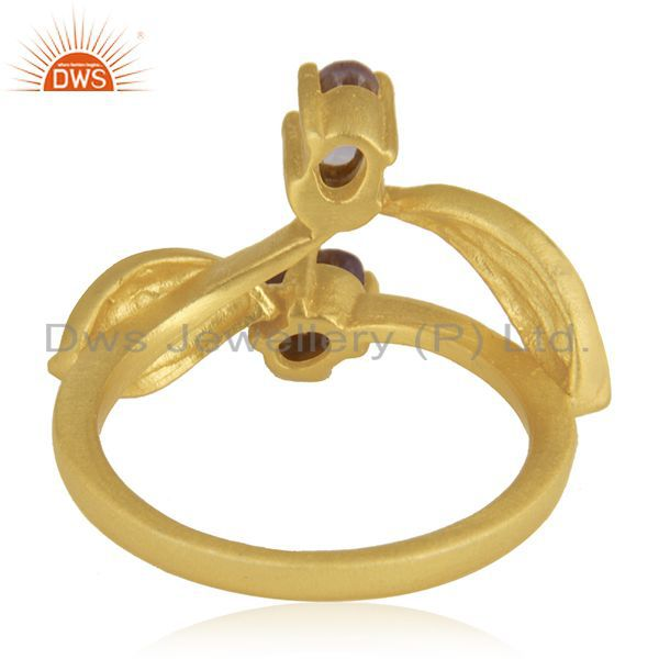 Wholesalers Indian Handmade 18k Yellow Gold Plated Over Brass Natural Gemstone Amethyst Ring