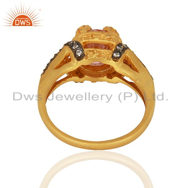 Wholesalers 22K Yellow Gold Plated Brass Pink Cubic Zirconia Womens Fashion Ring