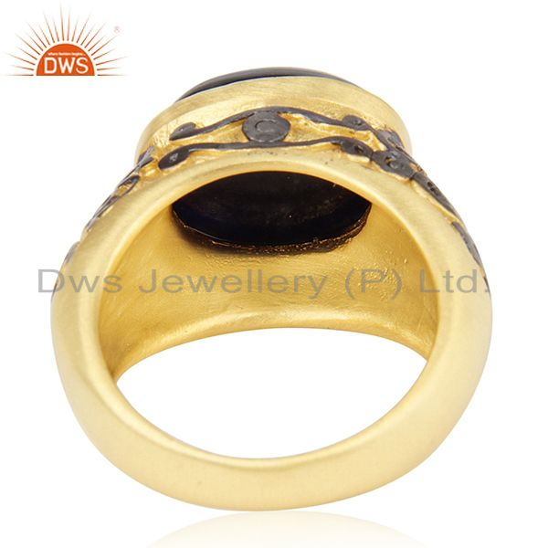Wholesalers 18K Yellow Gold Plated Brass Sodalite Gemstone Cocktail Ring