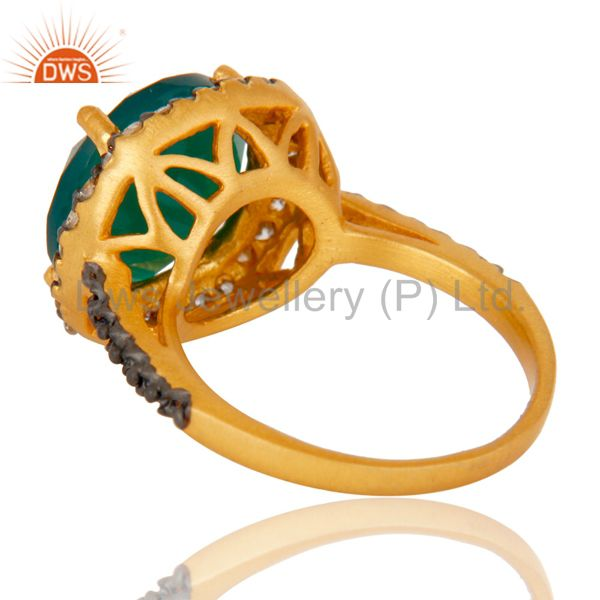 Wholesalers 22K Yellow Gold Plated Brass Green Onyx And Cubic Zirconia Ladies Fashion Ring