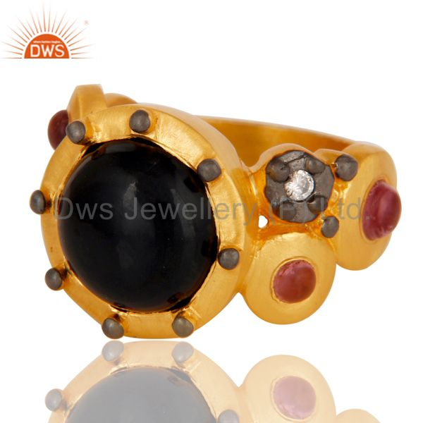 Wholesalers 22K Matte Yellow Gold Plated Brass Black Onyx Designer Fashion Ring With CZ