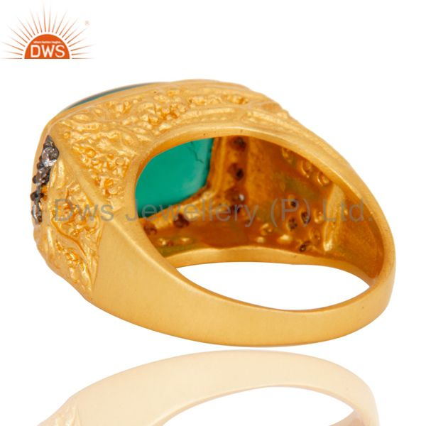 Wholesalers 14K Yellow Gold Plated Brass Designer Ring With Green Onyx And White Zircon