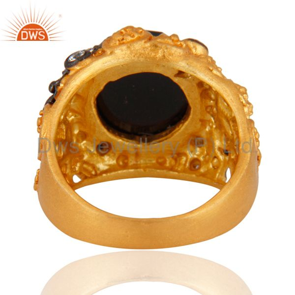 Wholesalers 18K Yellow Gold Plated Black Onyx And Cubic Zirconia Cocktail Ring