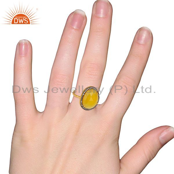 Wholesalers 14K Gold Plated Sterling Silver Yellow Chalcedony White Zircon Statement Ring
