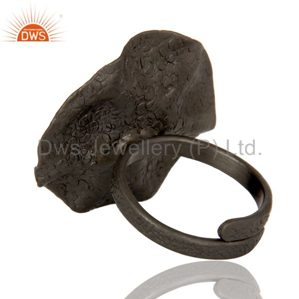 Wholesalers Black Oxidized Green Onyx and White Zircon Textured Folied Adjustable Ring