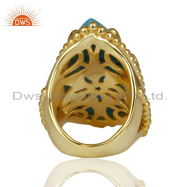 Wholesalers 14K Gold Plated Handmade Turquoise Prong Setting Statement Ring