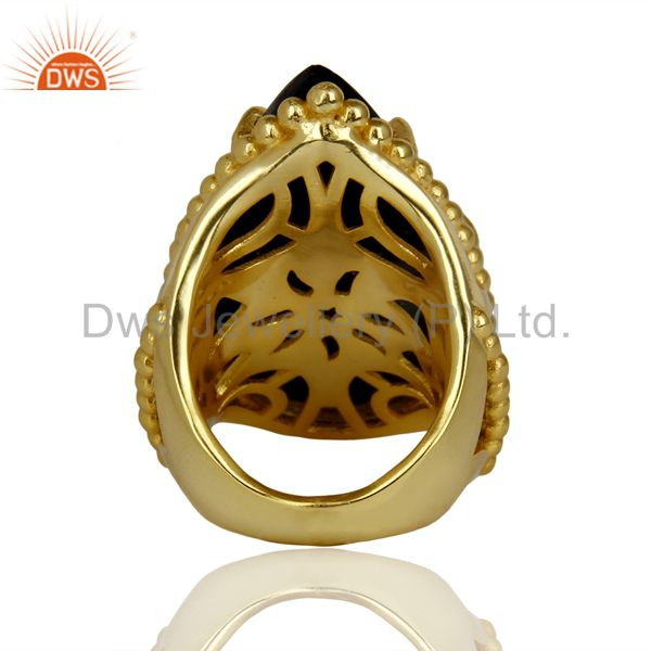 Wholesalers 14K Gold Plated Handmade Black Onyx Prong Setting Statement Ring