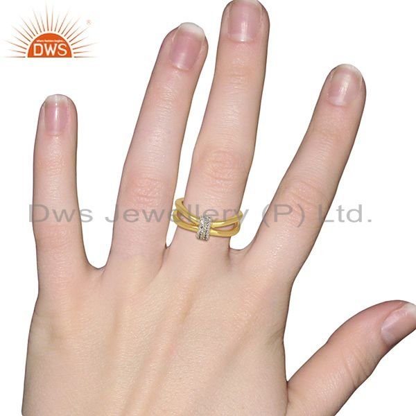 Wholesalers White Zircon Modern And Contemporary Two 18k Gold Plated Brass Wedding Ring