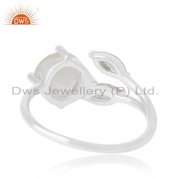 Wholesalers Zircon and Rainbow Moonstone Silver Plated Brass Fashion Designer Ring Wholesalers