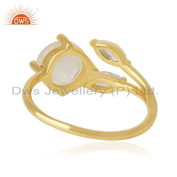 Wholesalers Rainbow Moonstone and Cz 18k Gold Plated Designer Fashion Ring Manufacturer