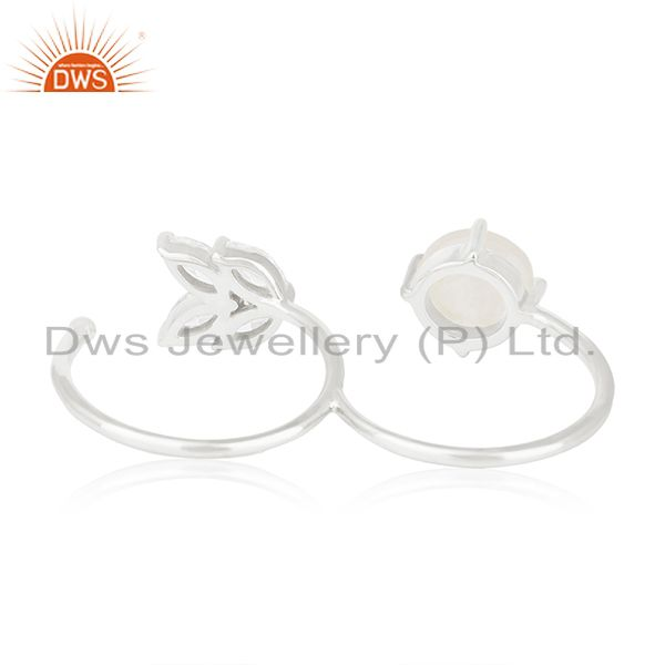 Wholesalers Handmade Silver Plated Brass Fashion Gemstone Double Finger Ring Manufacturer