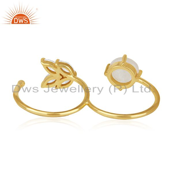 Wholesalers Rainbow Moonstone Fashion Gold Plated Brass Double Finger Ring Manufacturer