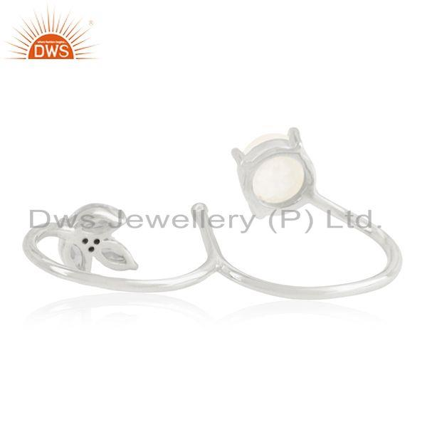Wholesalers Fine Silver Plated Brass White Zircon and Moonstone Double Finger Ring Supplier