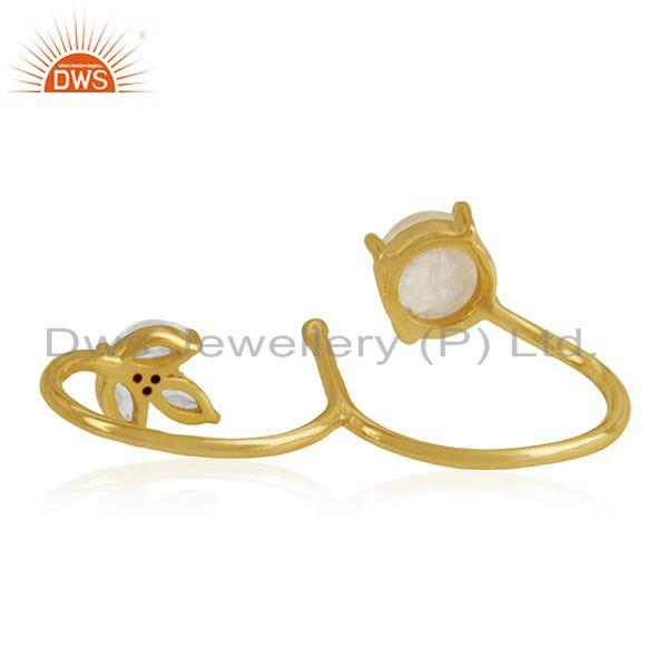 Wholesalers 14k Gold Plated Brass Moonstone and Zircon Double Finger Ring Manufacturers