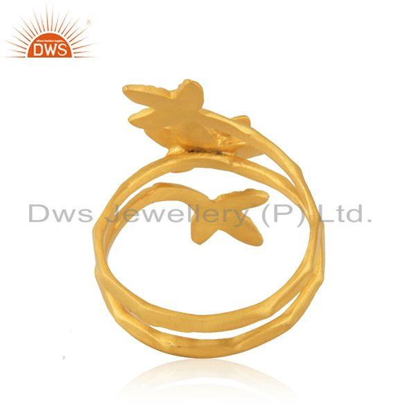 Wholesalers Yellow Gold Plated White Zircon Designer Fashion Ring Manufacturer from India