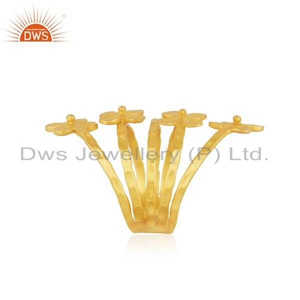 Wholesalers Leaf Design Yellow Gold Plated Brass Fashion Designer Ring Wholesaler